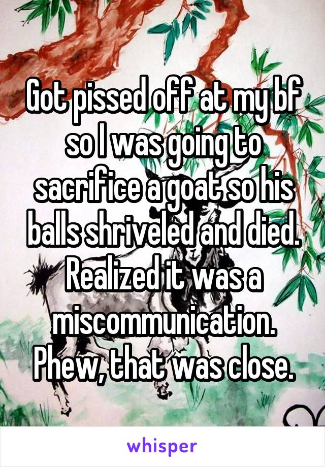Got pissed off at my bf so I was going to sacrifice a goat so his balls shriveled and died. Realized it was a miscommunication. Phew, that was close.