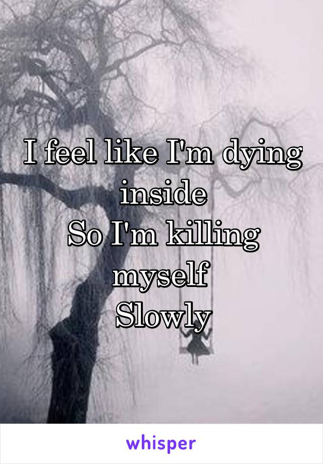 I feel like I'm dying inside So I'm killing myself  Slowly