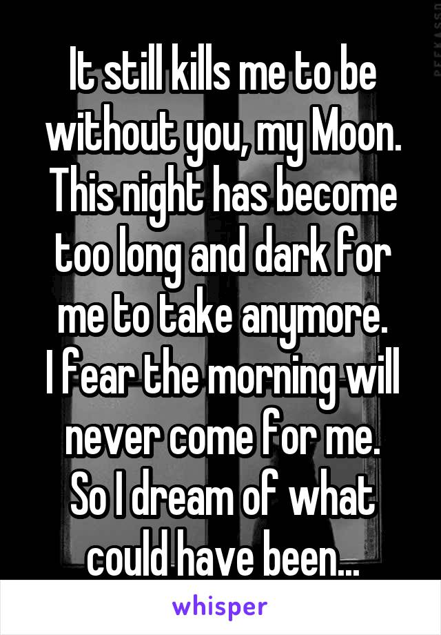 It still kills me to be without you, my Moon. This night has become too long and dark for me to take anymore. I fear the morning will never come for me. So I dream of what could have been...