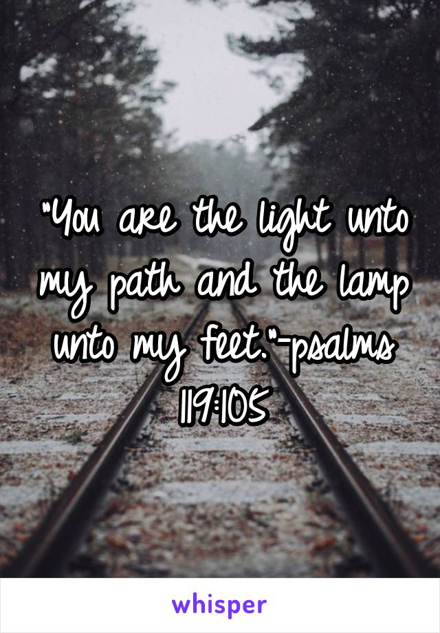 """""""You are the light unto my path and the lamp unto my feet.""""-psalms 119:105"""