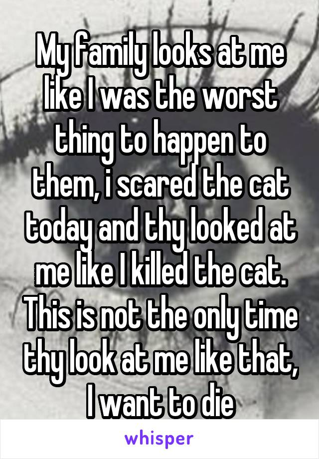 My family looks at me like I was the worst thing to happen to them, i scared the cat today and thy looked at me like I killed the cat. This is not the only time thy look at me like that, I want to die