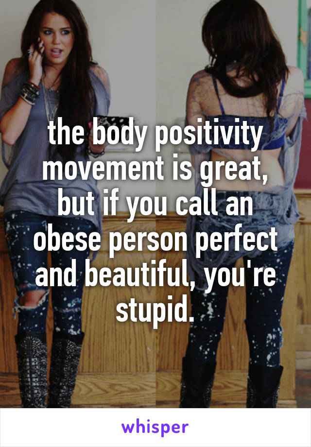 the body positivity movement is great, but if you call an obese person perfect and beautiful, you're stupid.