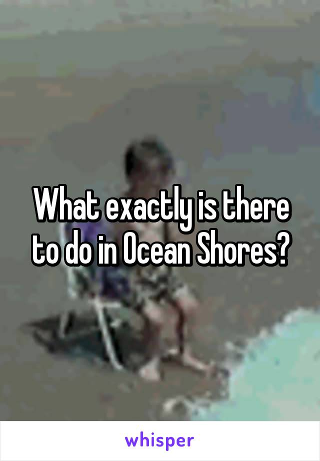 What exactly is there to do in Ocean Shores?