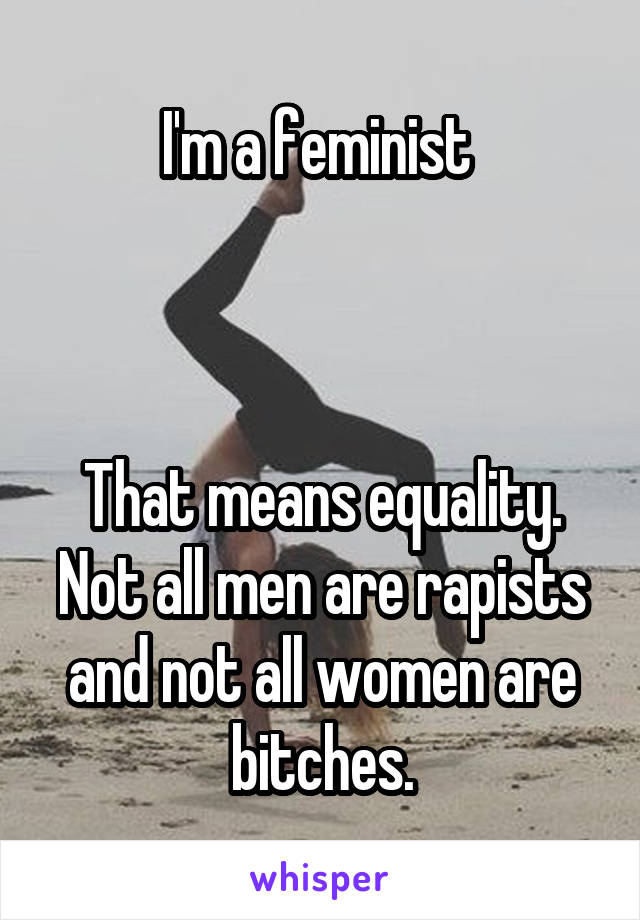 I'm a feminist     That means equality. Not all men are rapists and not all women are bitches.