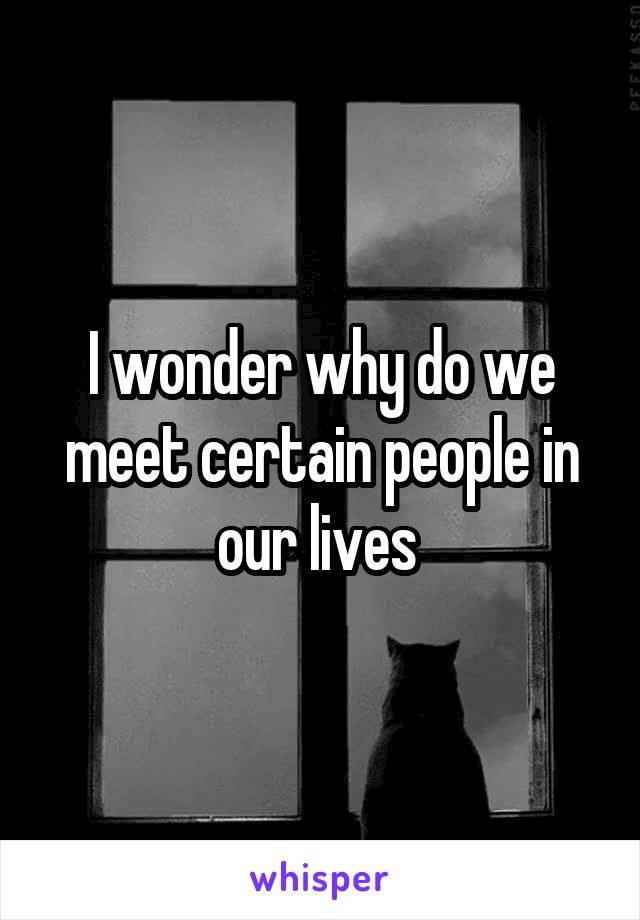 I wonder why do we meet certain people in our lives