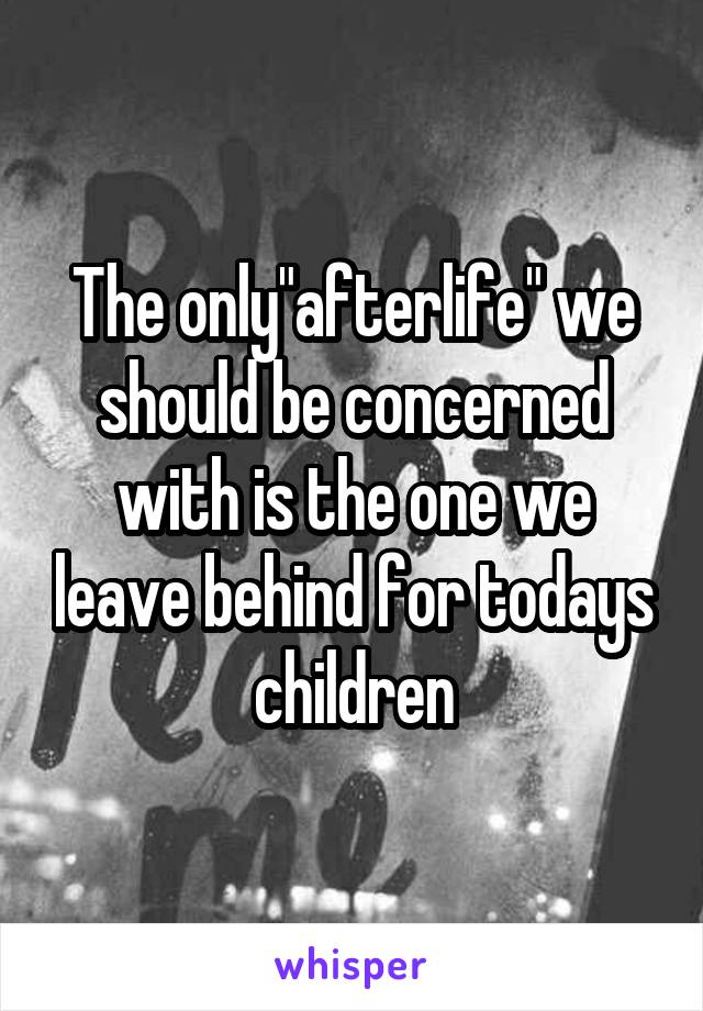 "The only""afterlife"" we should be concerned with is the one we leave behind for todays children"