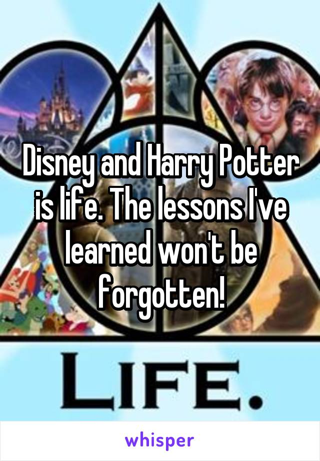 Disney and Harry Potter is life. The lessons I've learned won't be forgotten!