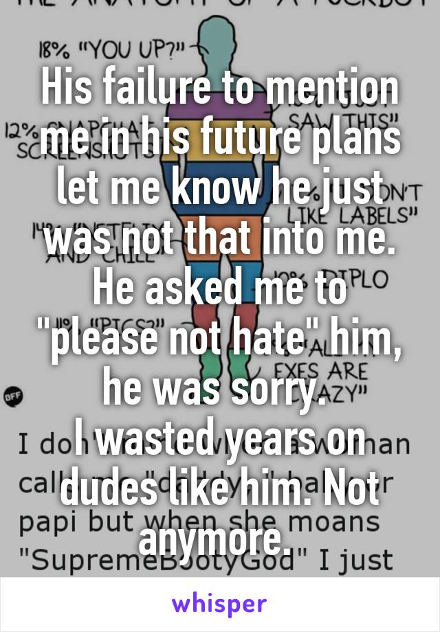 """His failure to mention me in his future plans let me know he just was not that into me. He asked me to """"please not hate"""" him, he was sorry.  I wasted years on dudes like him. Not anymore."""