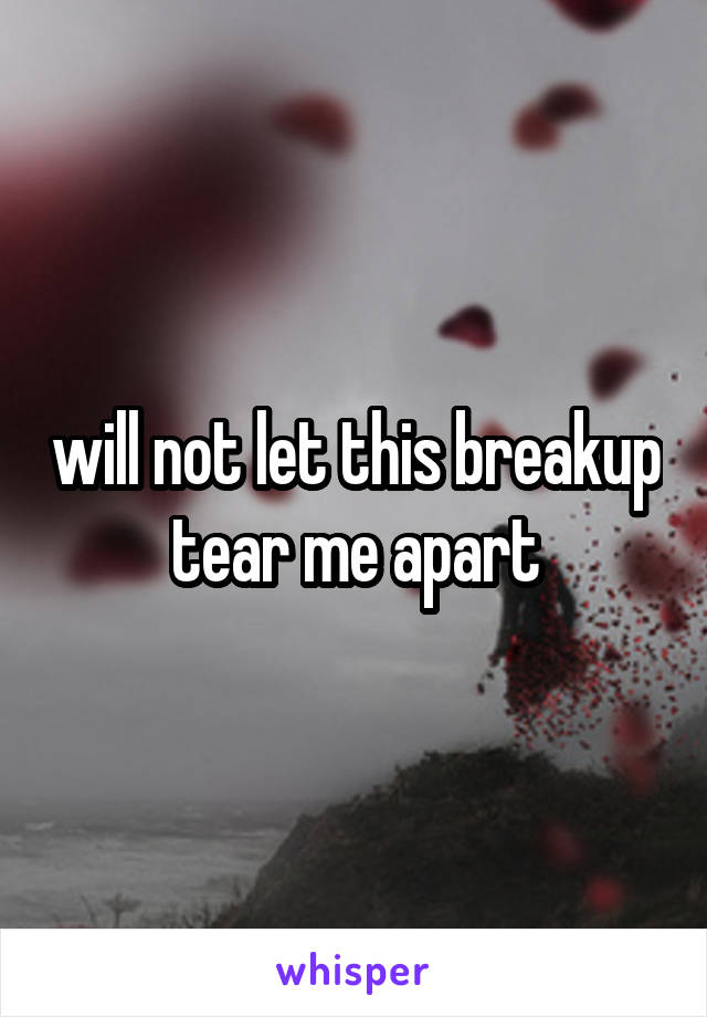 will not let this breakup tear me apart