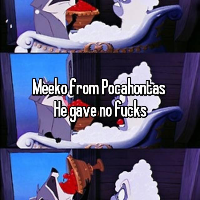 Meeko from Pocahontas  He gave no fucks