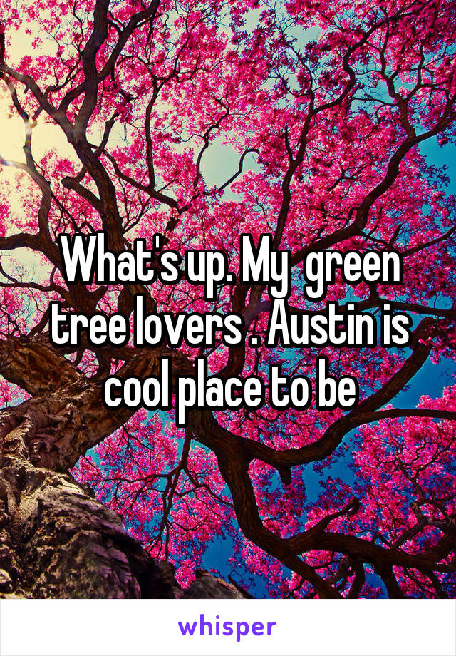 What's up. My  green tree lovers . Austin is cool place to be