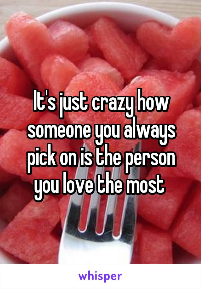 It's just crazy how someone you always pick on is the person you love the most