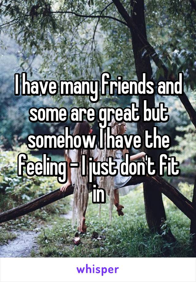 I have many friends and some are great but somehow I have the feeling - I just don't fit in