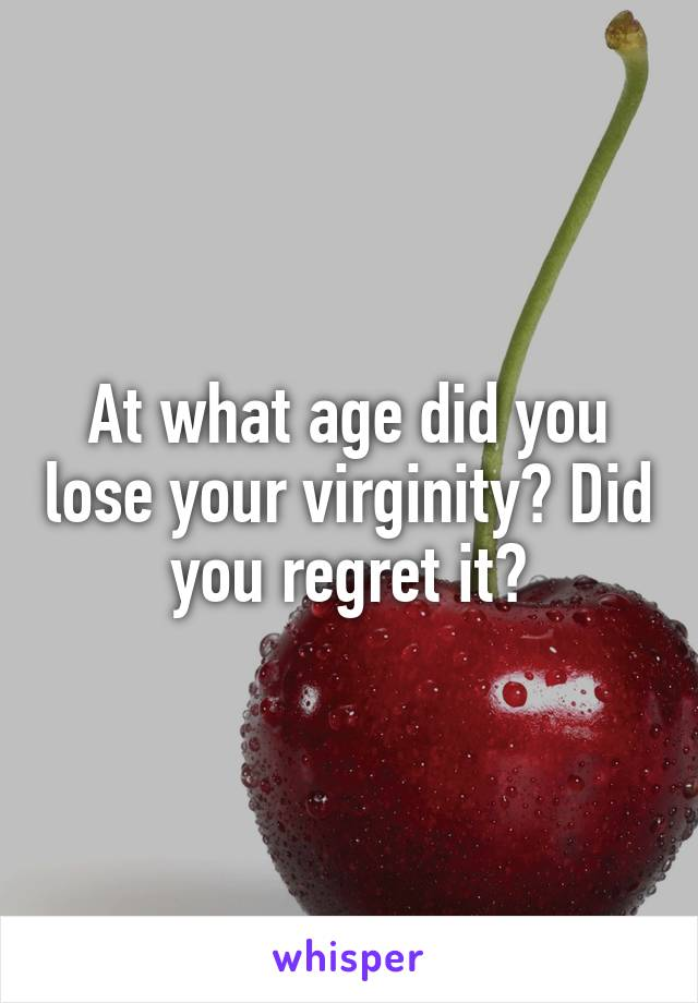 Good did you lose your virginity apologise, but