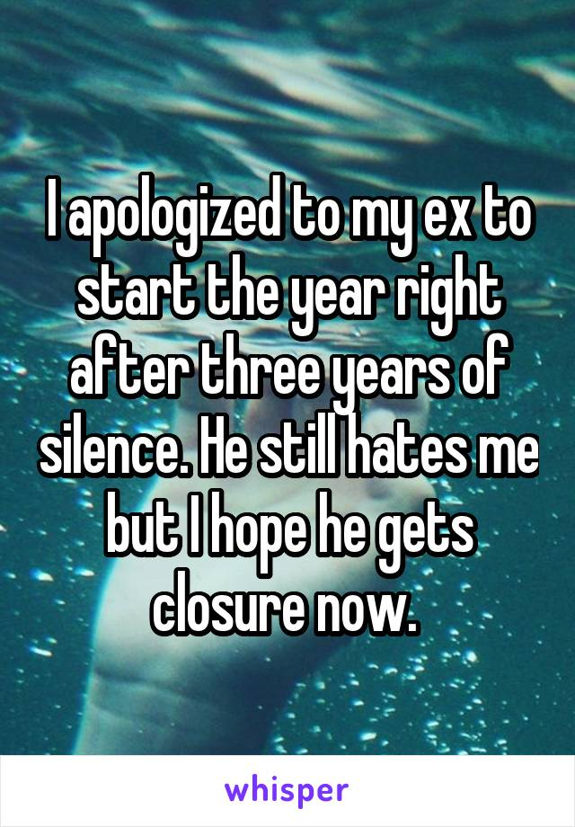 I apologized to my ex to start the year right after three years of silence. He still hates me but I hope he gets closure now.