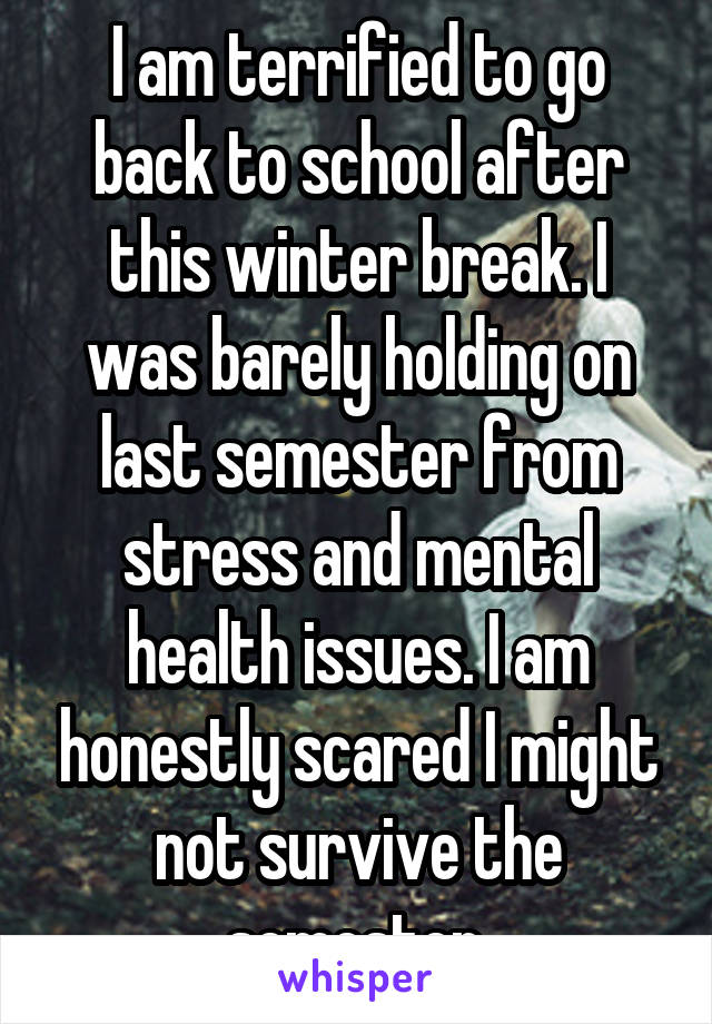 I am terrified to go back to school after this winter break. I was barely