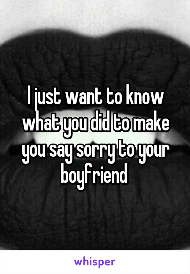 I Just Want To Know What You Did To Make You Say Sorry To Your Boyfriend