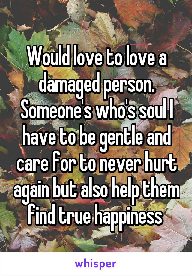 Would love to love a damaged person. Someone's who's soul I have to be gentle and care for to never hurt again but also help them find true happiness