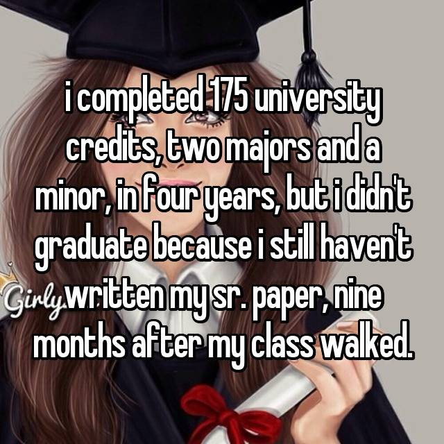 i completed 175 university credits, two majors and a minor, in four years, but i didn't graduate because i still haven't written my sr. paper, nine months after my class walked.