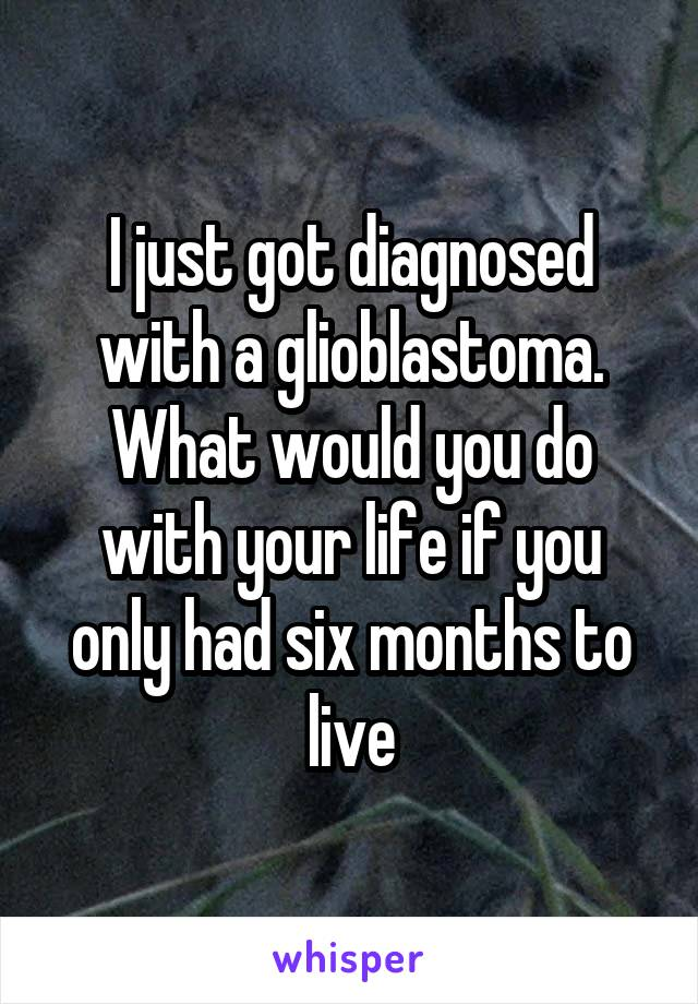 I just got diagnosed with a glioblastoma. What would you do with your life if you only had six months to live