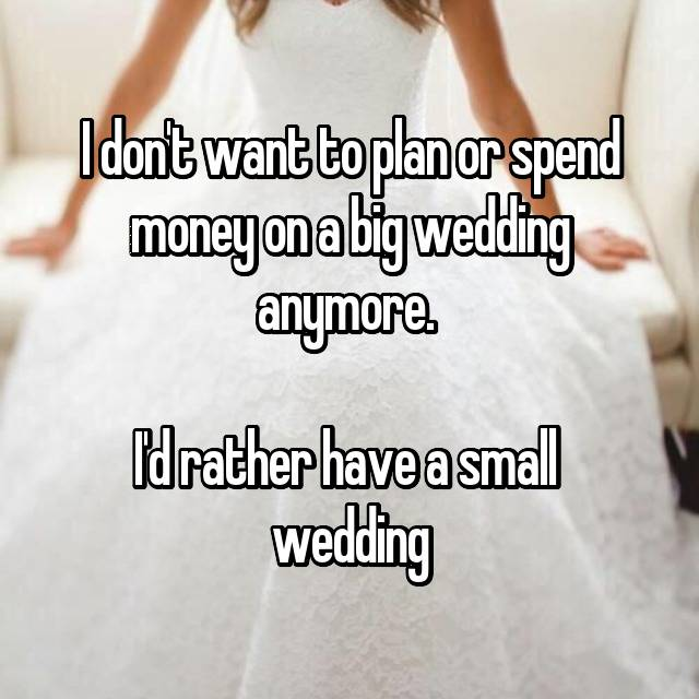 I don't want to plan or spend money on a big wedding anymore.   I'd rather have a small  wedding