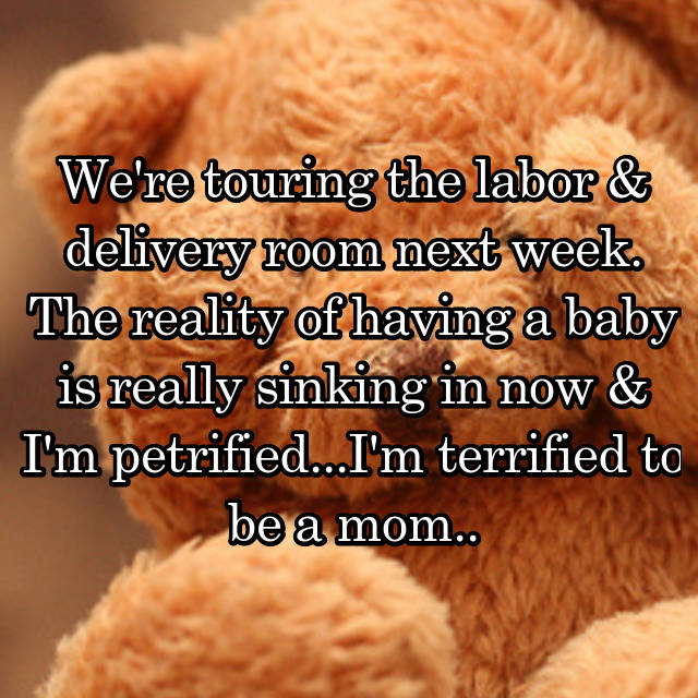 We're touring the labor & delivery room next week. The reality of having a baby is really sinking in now & I'm petrified...I'm terrified to be a mom..