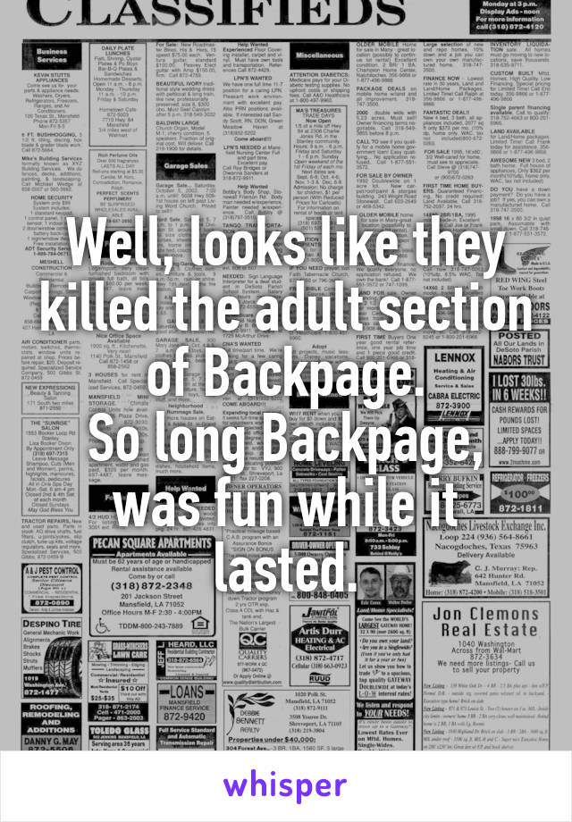 adult section of backpage