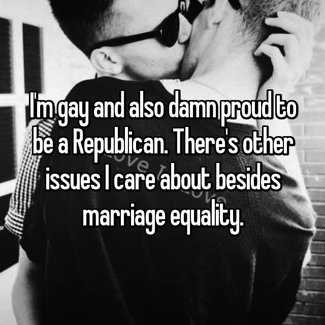 I'm gay and also damn proud to be a Republican. There's other issues I care about besides marriage equality.