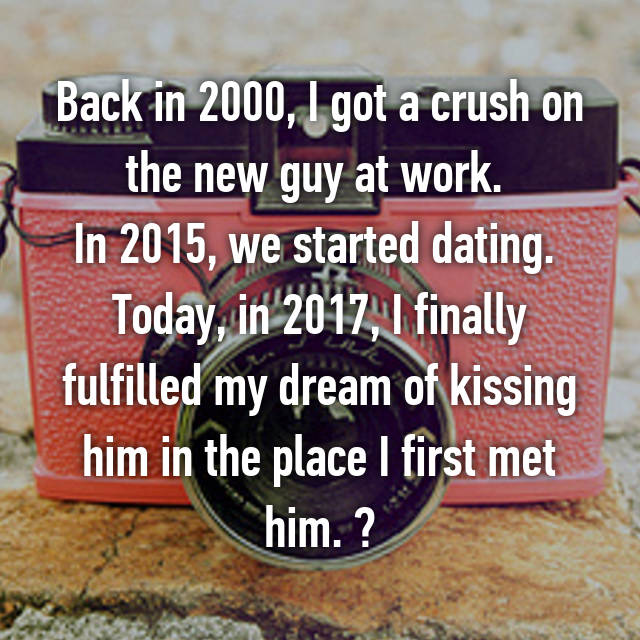 Back in 2000, I got a crush on the new guy at work.  In 2015, we started dating.  Today, in 2017, I finally fulfilled my dream of kissing him in the place I first met him. 💋❤