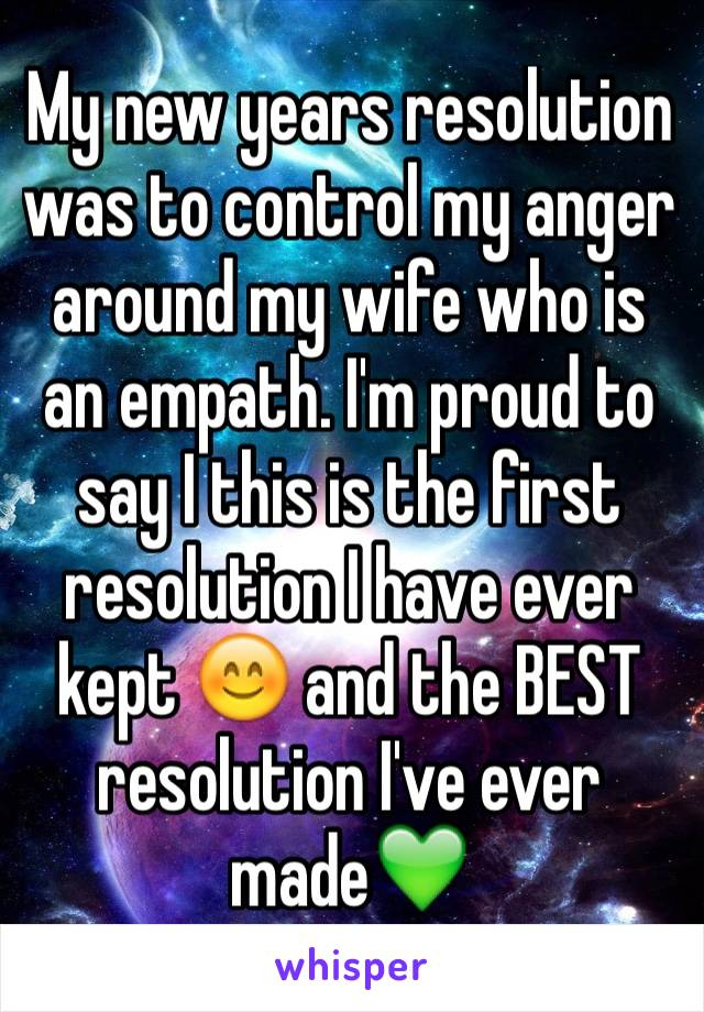 My new years resolution was to control my anger around my wife who