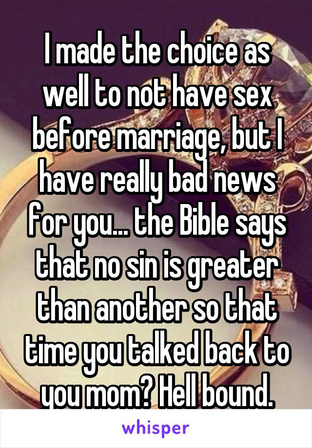 what does the bible say about sex before marriage