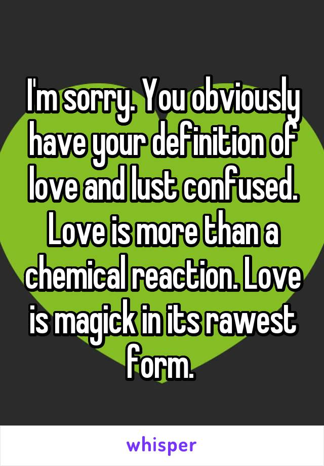 Chemical definition of love