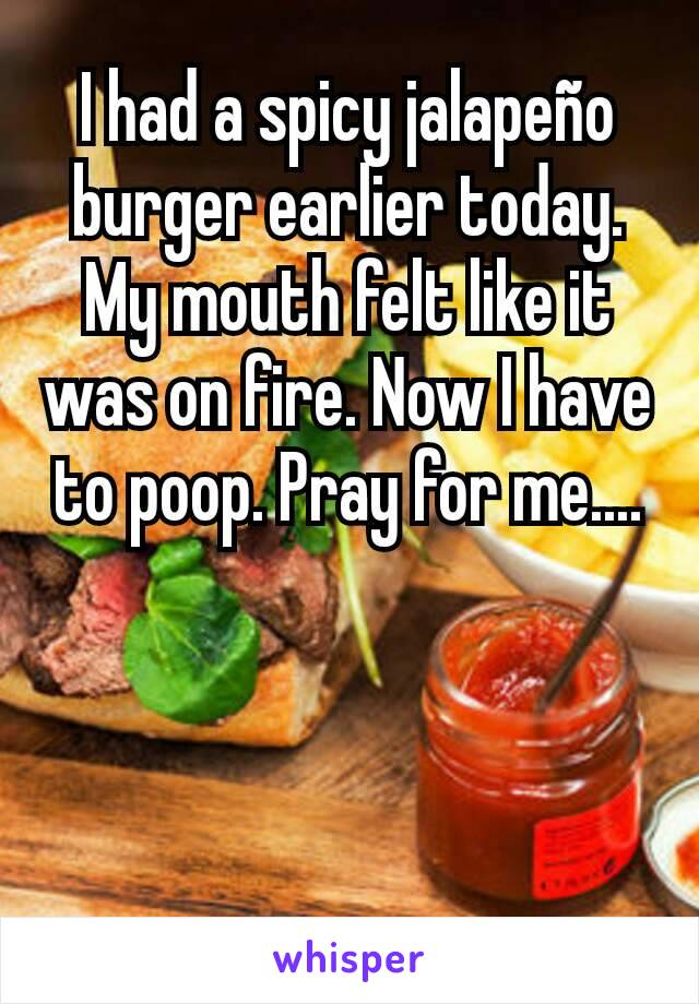I had a spicy jalapeño burger earlier today. My mouth felt like it was on fire. Now I have to poop. Pray for me....