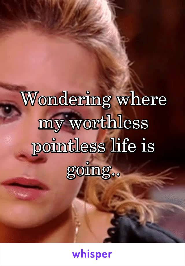 Wondering where my worthless pointless life is going..