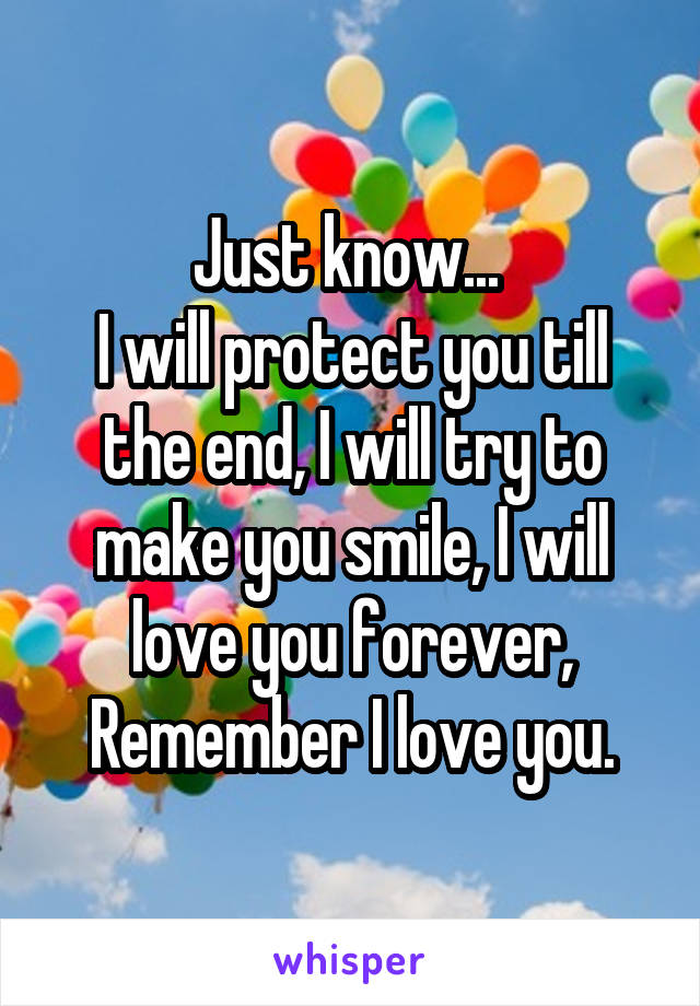 Just know...  I will protect you till the end, I will try to make you smile, I will love you forever, Remember I love you.