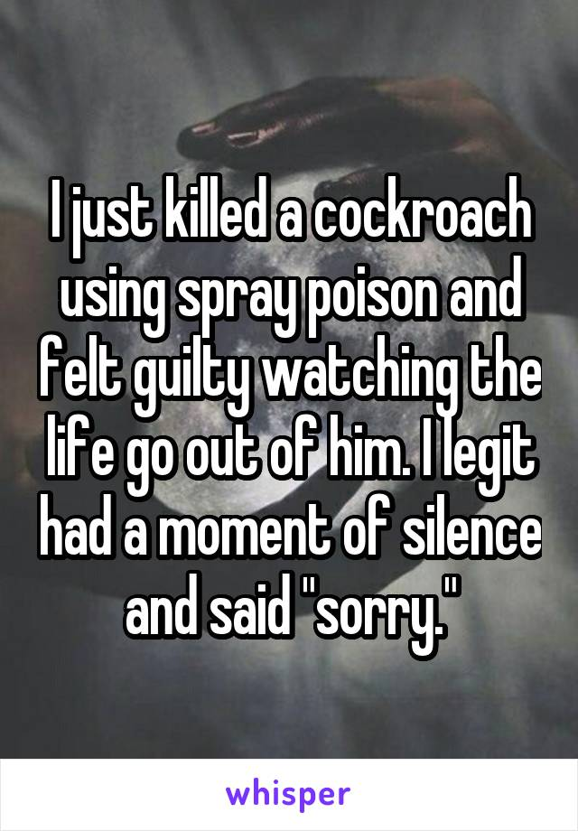 """I just killed a cockroach using spray poison and felt guilty watching the life go out of him. I legit had a moment of silence and said """"sorry."""""""