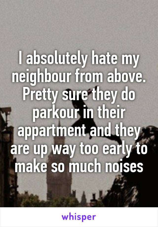 I absolutely hate my neighbour from above. Pretty sure they do parkour in their appartment and they are up way too early to make so much noises