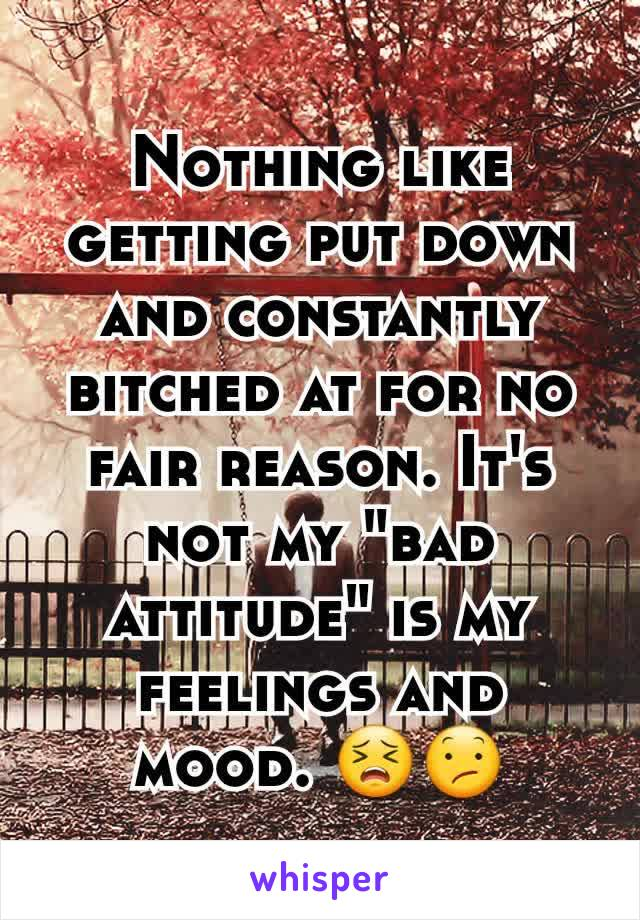 """Nothing like getting put down and constantly bitched at for no fair reason. It's not my """"bad attitude"""" is my feelings and mood. 😣😕"""