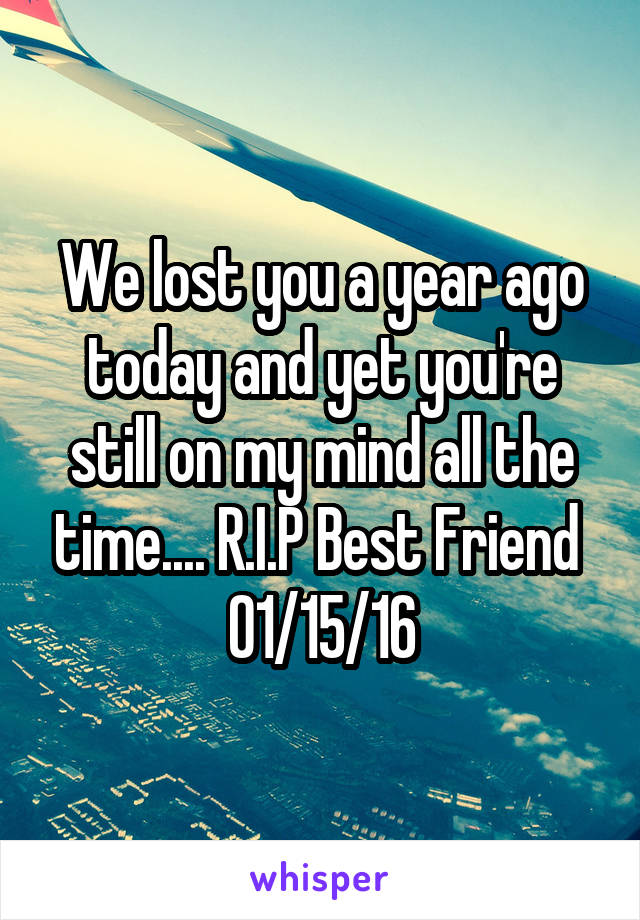 We lost you a year ago today and yet you're still on my mind all the time.... R.I.P Best Friend  01/15/16