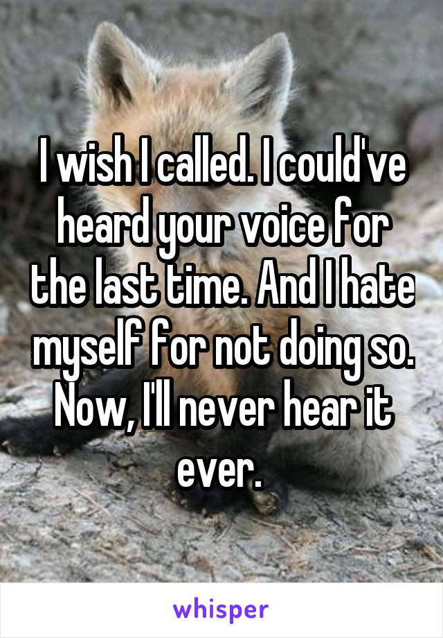 I wish I called. I could've heard your voice for the last time. And I hate myself for not doing so. Now, I'll never hear it ever.
