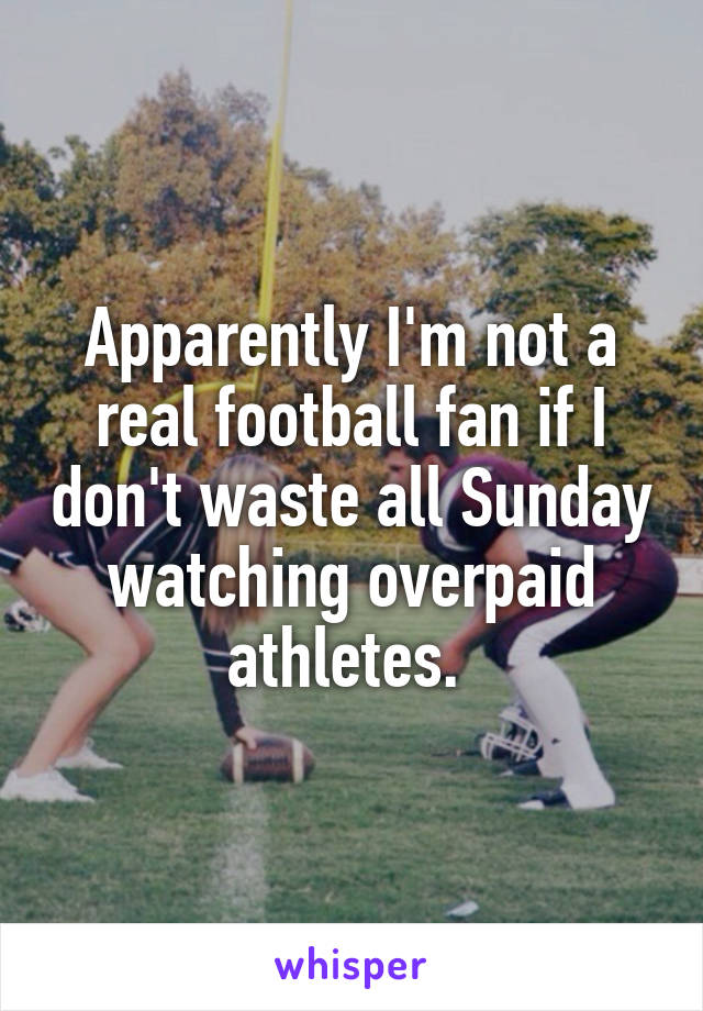 Apparently I'm not a real football fan if I don't waste all Sunday watching overpaid athletes.