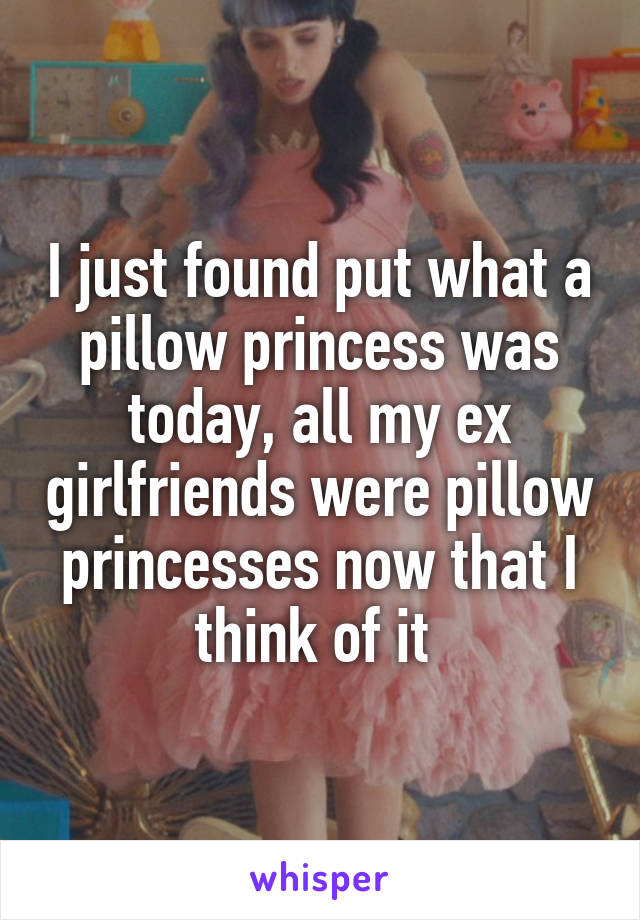 I just found put what a pillow princess was today, all my ex girlfriends were pillow princesses now that I think of it