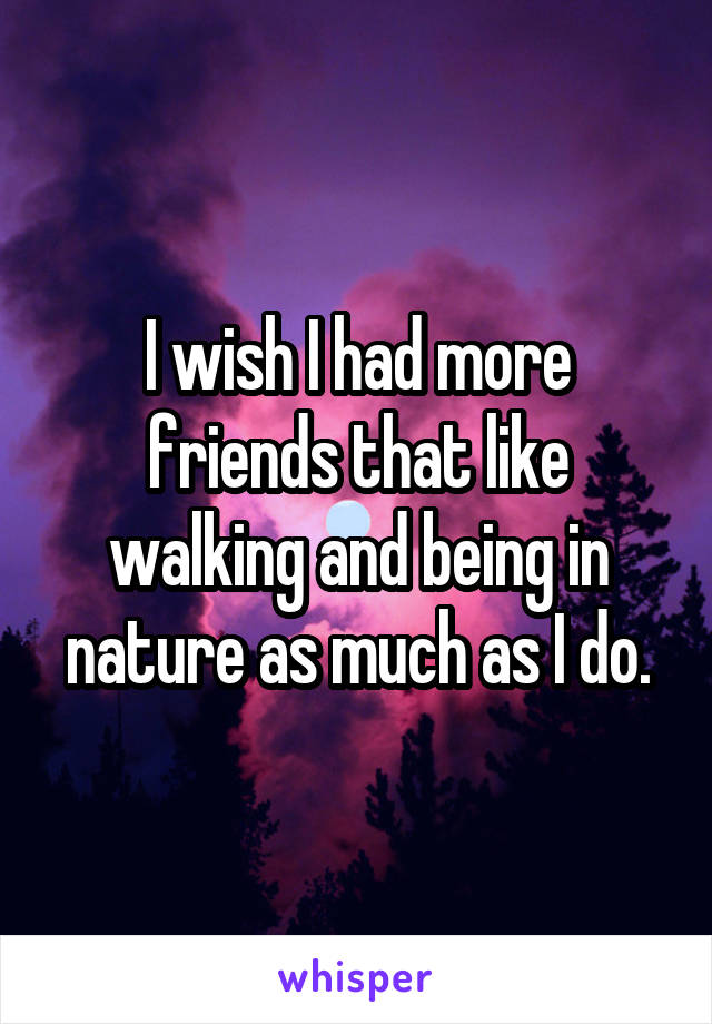 I wish I had more friends that like walking and being in nature as much as I do.
