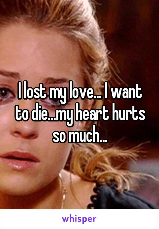 I lost my love... I want to die...my heart hurts so much...