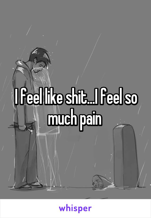 I feel like shit...I feel so much pain