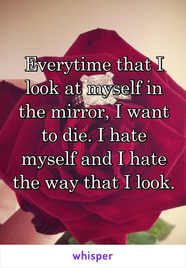 Everytime that I look at myself in the mirror, I want to die. I hate myself and I hate the way that I look.