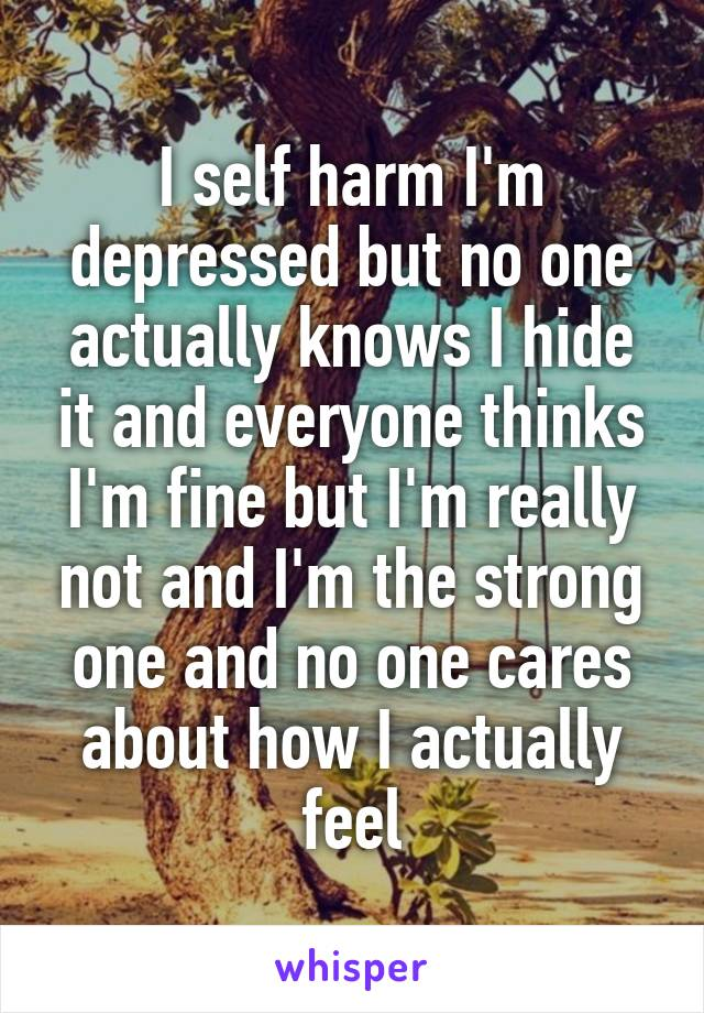 I self harm I'm depressed but no one actually knows I hide it and everyone thinks I'm fine but I'm really not and I'm the strong one and no one cares about how I actually feel