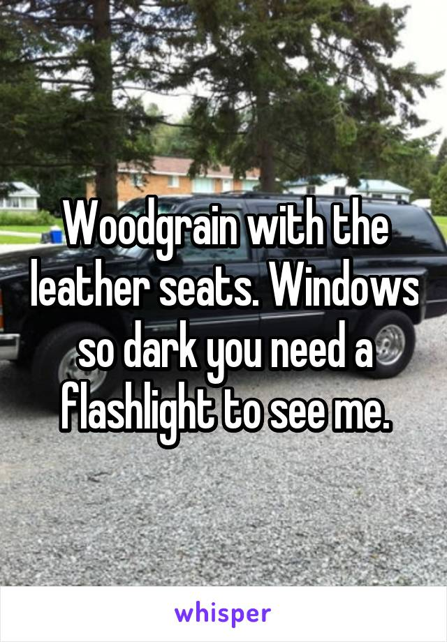 Woodgrain with the leather seats. Windows so dark you need a flashlight to see me.