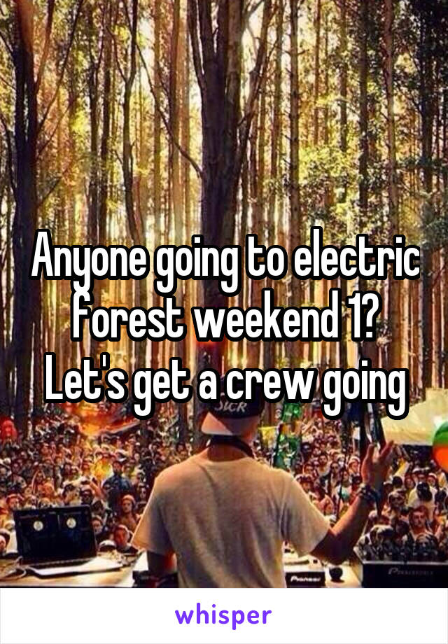 Anyone going to electric forest weekend 1? Let's get a crew going
