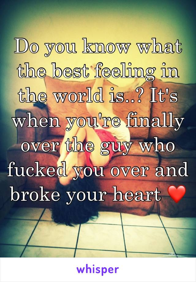 Do you know what the best feeling in the world is..? It's when you're finally over the guy who fucked you over and broke your heart ❤️
